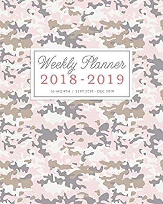 2018 - 2019 Weekly Planner: Cute Pink Camo Print 16 Month ...