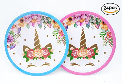 Magical Unicorn Plates Set 24-Pack,7 Inch for a Birthday Party,Unicorn Party,or Children's Party (Pink and Blue)