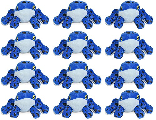 Wildlife Tree 3.5 Inch Blue Poison Dart Frog Mini Small Stuffed Animals Bulk Bundle of Zoo Animal Toys or Jungle Safari Party Favors for Kids Pack of 12 ()