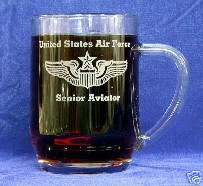 Custom Etched USAF Senior Aviator Wings on Clear Glass 20 oz Mug (1) PRE-HOLIDAY - Custom Aviator