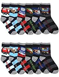 Differenttouch 12 Pairs Kids Boys Novelty Design Crew Socks