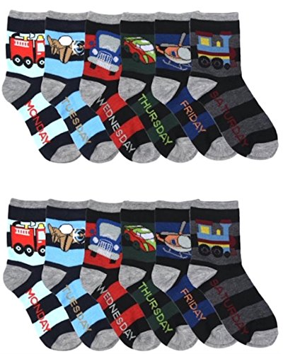 Differenttouch 12 Pairs Kids Boys Novelty Design Crew Socks (6-8, WeekDays)