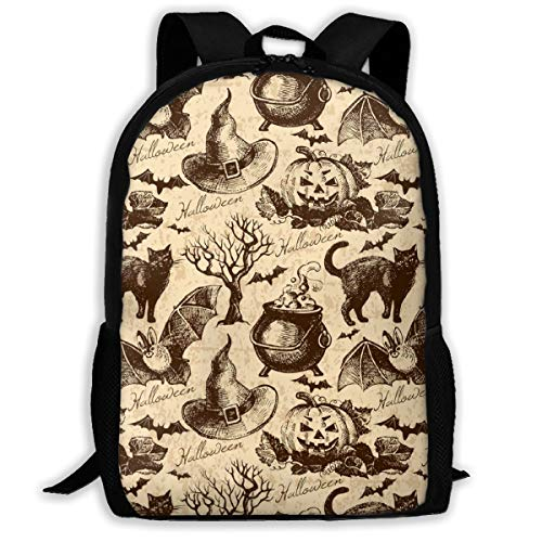 COLORFULSKY Cat Bat Pumpkin Halloween Party Pattern Perfection School Backpacks Book Bag for Teenager Boys Girls -