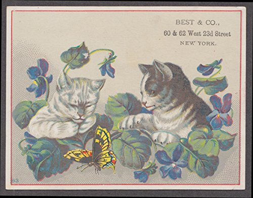 Best & Co Liliputian Bazaar Clothing Toys trade card 1880s NYC cats butterfly -