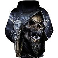 GLUDEAR Unisex Realistic Cool 3D Halloween Skull Print Pullover Hoodie Hooded Sweatshirt,L/XL