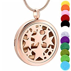 Memorial Jewelry Magic Hollow Locket Fragnant Pendant Necklace Stainless Steel Perfume Diffuser Star