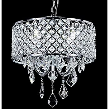 Top Lighting 4 Light Chrome Round Metal Shade Crystal Chandelier Pendant  Hanging Ceiling Fixture