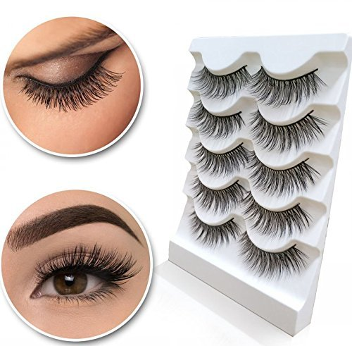 Beauty : 5pair Eyelashes 3D Handmade Mink Reusable False Eyelashes Triple Natural Soft Hair Eye Lashes