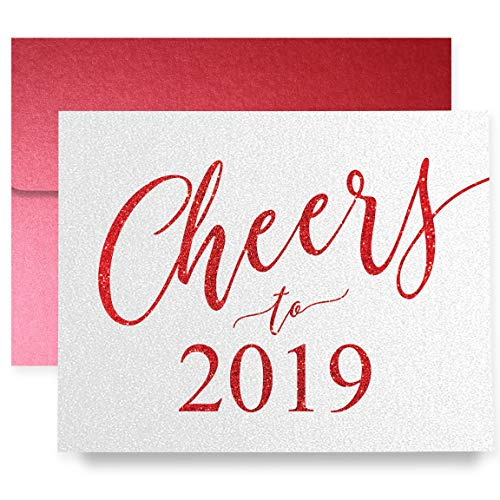 Cheers to 2019 New Year Greeting Cards Boxed Set of 8 Shimmer Cards & Red Envelopes Folded Calligraphy Cards 8-Count Box | Carter14