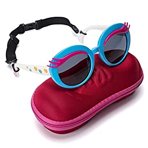 Comcl Girls Eyelash Polarized Sunglasses - UV Protection Plastic Frame Lenses Sunglasses For Baby Toddler And Kids – Stylish Cute Round Junior Sunglasses With Car Shape Case