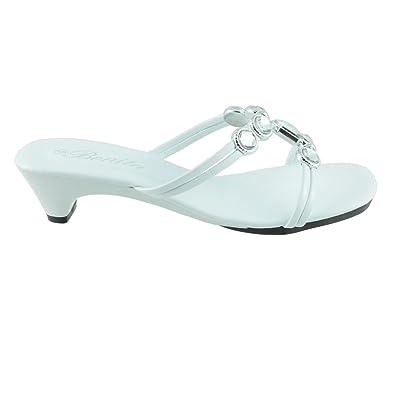 df03ce0a2880 Bonita Women s Slides Low Heels Sandals Flip Flops Shoes LOVE-01 White