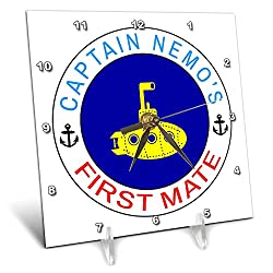 3dRose Alexis Design - Beach, Sea, Surf - Yellow Color Submarine, Blue Circle. Text Captain Nemos First Mate - 6x6 Desk Clock (dc_292319_1)