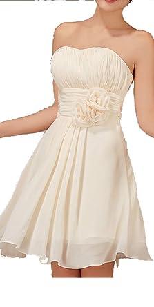 Champagne Strapless Bridesmaid Dresses Short