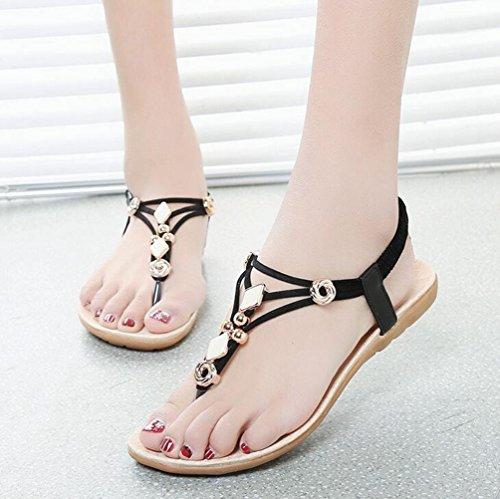 YOUJIA Mujeres Adornos de Metal Elegante T-Correa Bohemia Sandalias Verano Zapatos Planos #4 Negro