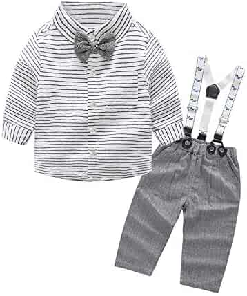 adcff89d7 Tem Doger Baby Boys Long Sleeve Woven Striped Shirt+Bowtie+Suspender Pants  with Straps