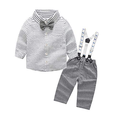 Tem Doger Baby Boys Long Sleeve Woven Striped Shirt+Bowtie+Suspender Pants with Straps Outfit (80/6-12 Months) Grey ()