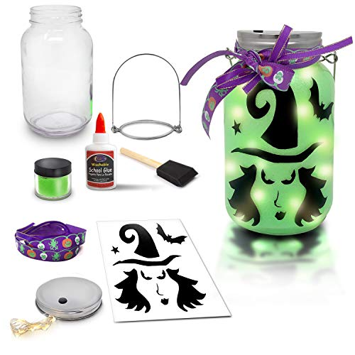 Halloween Idea For Kids (Mason Jar Lantern Craft Kit - DIY Make Your Own Lantern Jar - Craft Project for Kids - Great Gift)