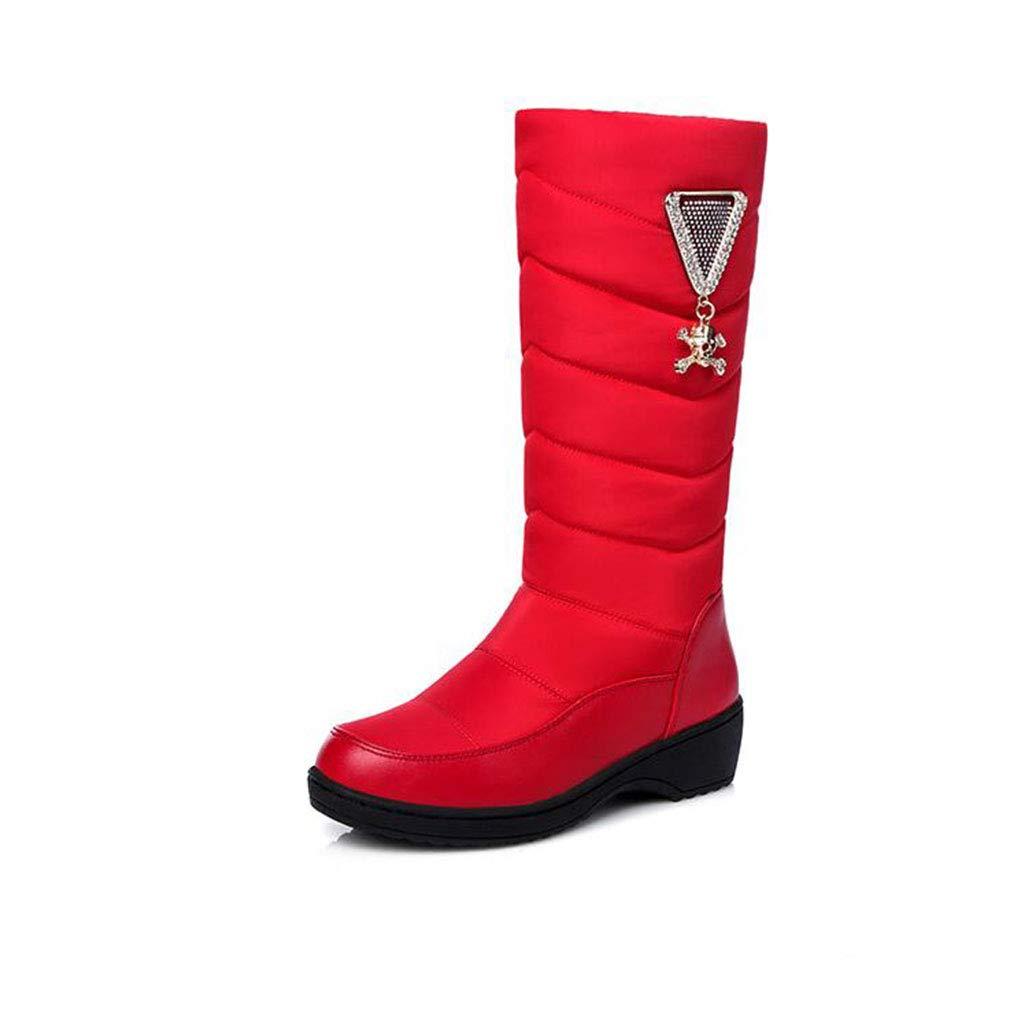 Hy Damen Baumwolltuch Winter Schnee Stiefel/Damen Wasserdichte warme gefütterte Wedge Plattform Mitte der Wade Stiefel Slip On Größe 35-44 (Farbe : Rot, Größe : 44)