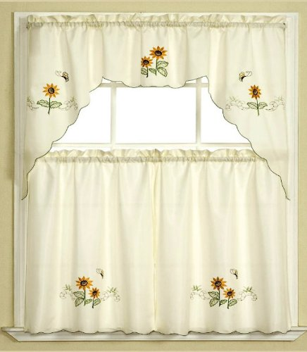 - 3pc Beige with Yellow Sunflower and Butterfly Kitchen/Cafe Curtain Tier and Swag Set