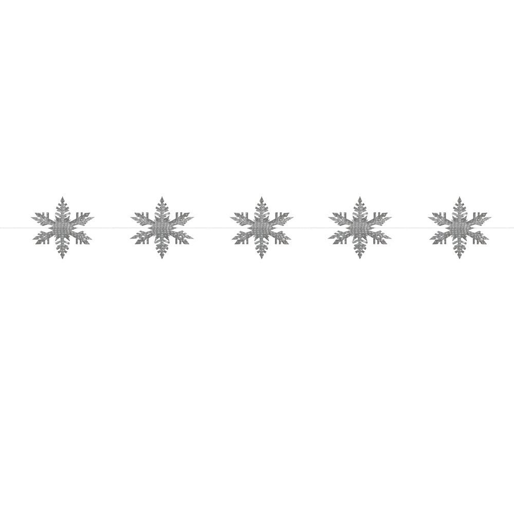 East Of India: 3d Snowflake Paper Garland - Silver