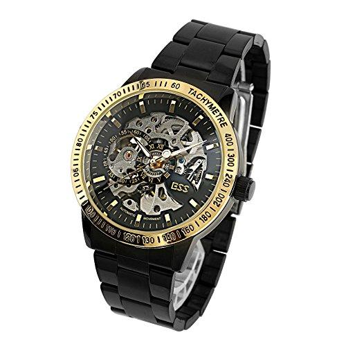 ESS Mens Watch Mechanical Black Dial Stainless Steel Case Analog Skeleton Luxury
