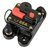 ZOOKOTO 60 Amp Circuit Breaker Trolling Motor Auto Car Marine Boat Bike Stereo Audio Terminal Inline Fuse Inverter with Manual Reset 12V-24V DC