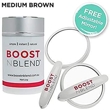 BOOSTnBLEND Medium Brown Hair Loss Concealer with BONUS FREE ADJUSTABLE MIRROR