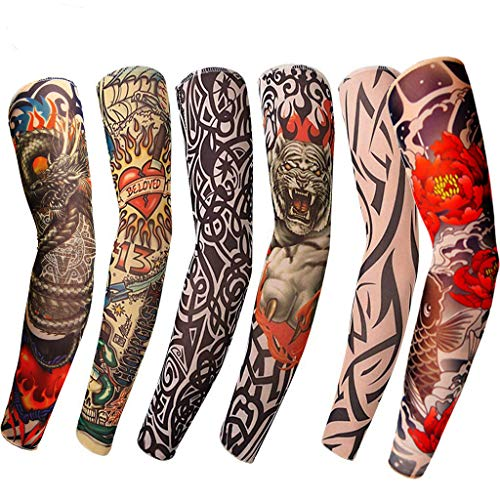 Cooling Tattoo Sleeves Arm Temporary Cover Up Art Motorcycle UV Sun Protection (6PCS) (Best Homemade Tattoo Machine)