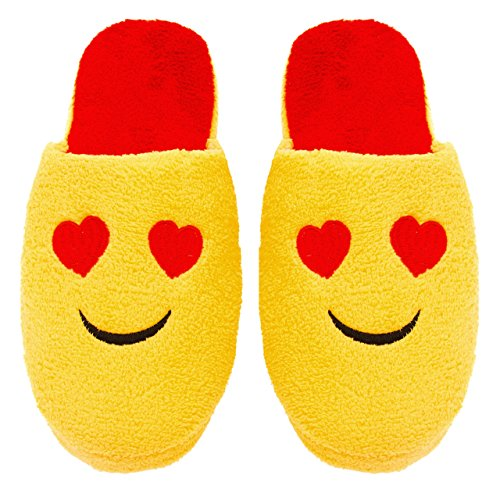 Chatties Ladies Terry Cloth Slip On Embroidered Novelty Bedroom Slippers, 5/6, Smiley Heart Eyes