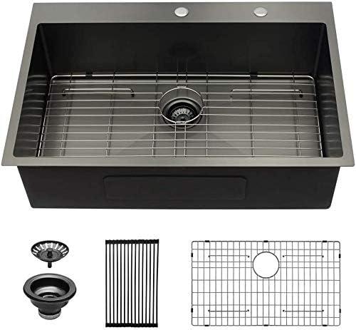 Black Drop In Kitchen Sink Sarlai 30 Inch Drop In Topmount Gunmetal Black 16 Gauge Stainless Steel Single Bowl Drop Sink Amazon Com