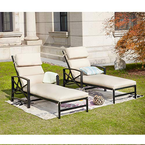 - LOKATSE HOME Outdoor Patio Chaise Lounge Chair with Adjustable Backrest and Arms Metal Lounger Furniture All Weather, Khaki