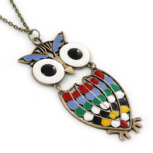 80cm Length Avalaya Oversized Multicoloured Enamel Owl Pendant with Long Bronze Tone Chain