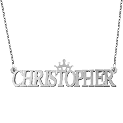 Ouslier 925 Sterling Silver Personalized Capital Name Necklace with Crown  Custom Made with Any Names