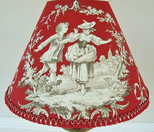 Abat jour toile de jouy rouge maison campagne Tissu Franç ais fait main 30cm x 18cm Haut Colin Maillard