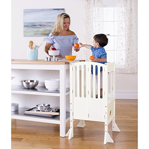 Guidecraft Contemporary Kitchen Helper - Ivory: Adjustable Height Cooking Learning Step Stool For Kids, Children Safety Tower - Limited Edition