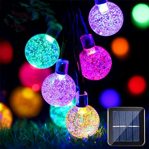 Halloween Christmas Decorations (Solar Globe String Lights 20ft Solar Powered String Lights 30 Pcs LED Crystal Ball Lights Outdoor Waterproof Halloween Decorations Lights for Christmas, Garden, Yard and Party (Multicolor))