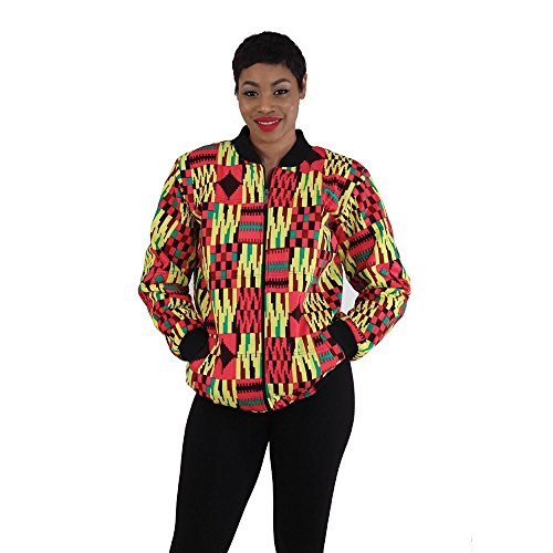 utopia africa Kente Bomber Jacket: Pink/Yellow - XL by utopia africa