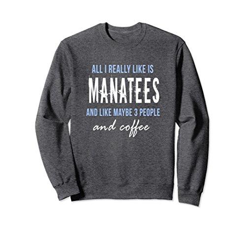 Unisex All I really like is manatees & coffee sweatshirt Large Dark Heather