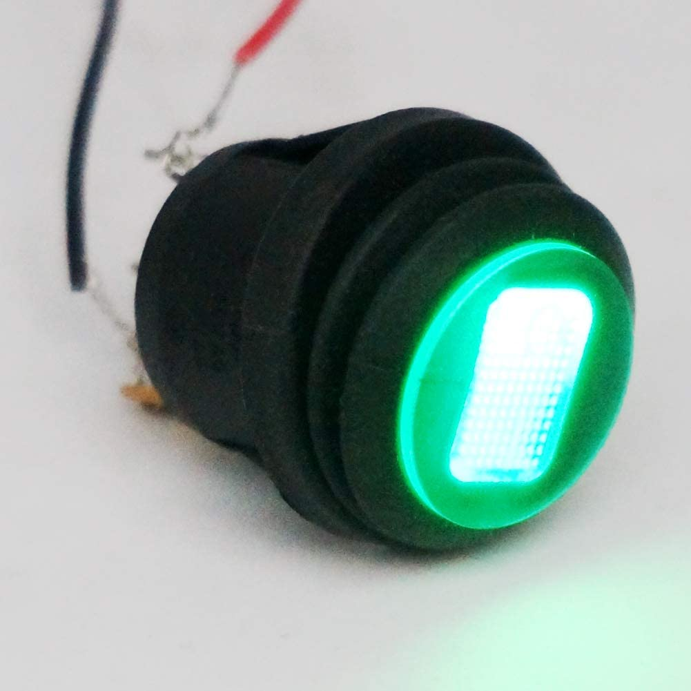 Twidec//2Pcs 12V SPST 3 Pins ON//Off Waterproof Round Rocker Toggle Switch Control Car Or Boat With Green LED Light KCD1-5-101NW-G