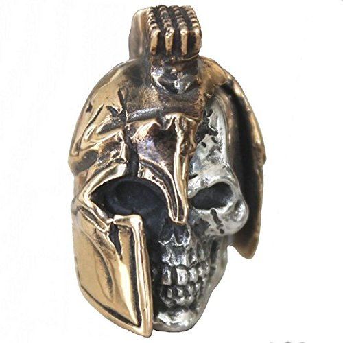 Spartan LG Paracord / Lanyard Bead in .925 Sterling Silver & Bronze by GD Skulls by Jig Pro Shop