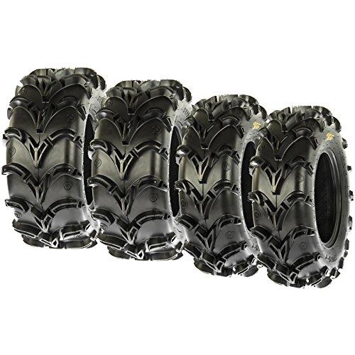 Set of 4 SunF A050 25x8-12 Front & 25x11-10 Rear Deep Mud + Trail ATV UTV Off-Road Tires, 6PR, Tubeless (Atv Mud)