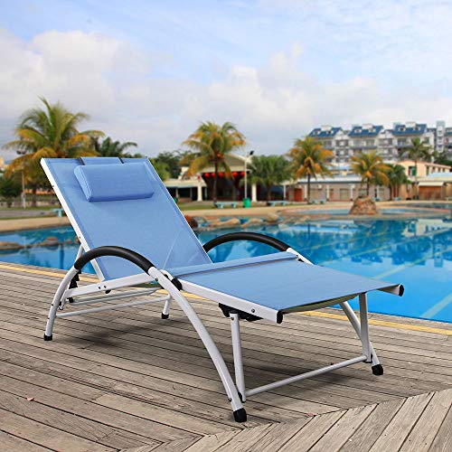 Ukeacn Patio Chaise Lounge Lawn Chair - High-Strength Aluminum Materials, Adjustable Reclining Folding Chairs with Pillow for Outdoor Indoor Home Garden Pool Beach, Weight Capacity 300 LB(Blue) (Patio Chair Folding Lounge)