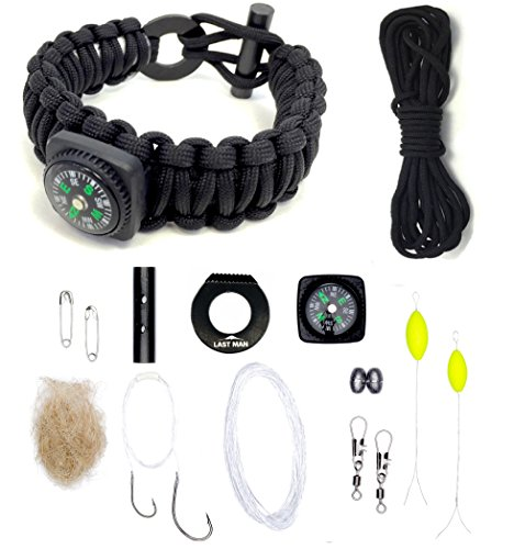 Last Man Survival Gear Paracord Kit Bracelet, Small (6-Inch-by-7.5-Inch), Black With Compass