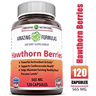 Amazing Formulas Hawthorn Berries 100% Pure Hawthorne Berry Extract * Powerful Anioxidant Activity * Supports Cardiovascular Health* 565mg Herb Capsules * 120 Capsules Per Bottle (Non-GMO,Gluten Free)