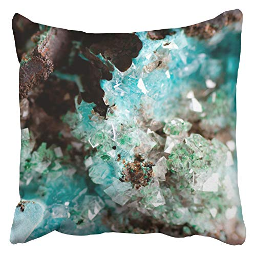 (Emvency Decorative Throw Pillow Covers Cases Green Turquoise Vibrant Blue Rosasite Calcite Crystal Mineral on Granite Colorful Gem Zinc Ore 16x16 inches Pillowcases Case Cover Cushion Two Sided)