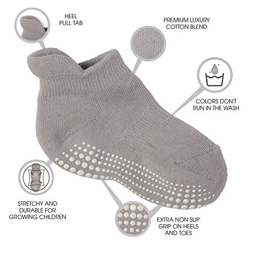 LA Active Baby Toddler Grip Ankle Socks Non Slip//Skid Covered 6 Pairs