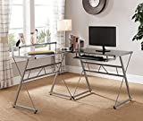 Kings Brand Furniture Black Glass Top with Silver Metal Finish Workstation L-Shaped Computer Desk