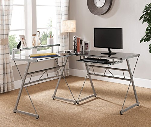 - Kings Brand Furniture Black Glass Top with Silver Metal Finish Workstation L-Shaped Computer Desk