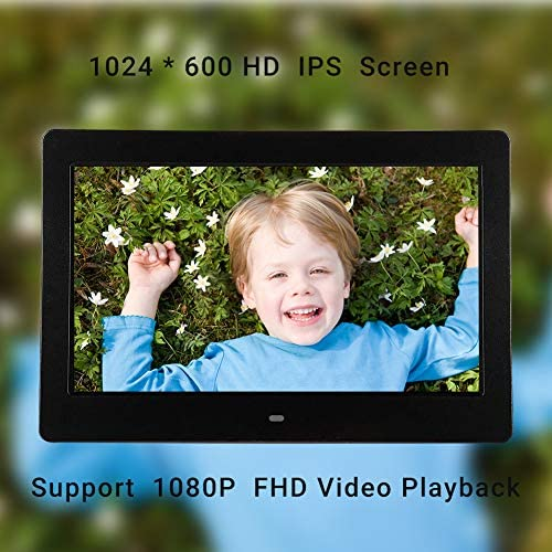 Digital Photo Frame 32GB SD Card 7 Inch 1024×600 High Resolution IPS Display Digital Picture Frames Auto-Rotate Image Preview Background Music Video Calendar with Remote Control