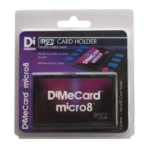 DiMeCard micro8 microSD Memory Card Holder (Ultra thin credit card size holder, writable label) 3 Ultra-slim design - 1/10th inch thin, credit card size for wallet (thinnest in the world!) Writable panels to note memory card contents Ideal companion for camera phones, smart phones & tablet PC's